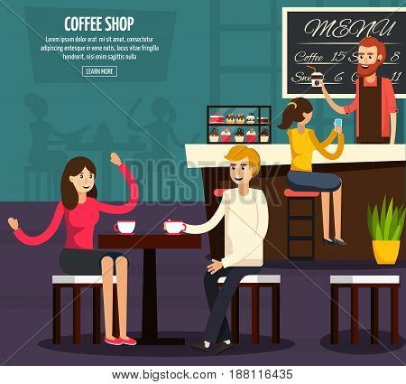 Colored cafe worker flat composition with two people who sit and drink coffee vector illustration