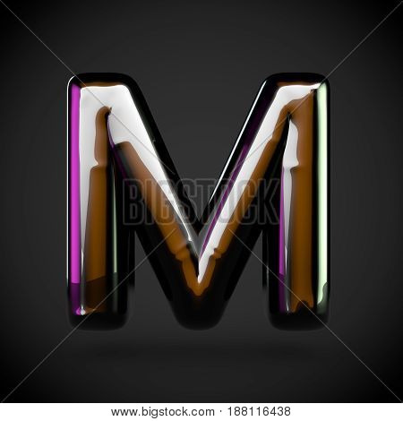 Glossy Black Letter M Uppercase With Colored Reflections
