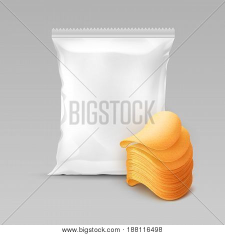 Vector White Vertical Sealed Foil Plastic Bag for Package Design with Stack of Potato Crispy Chips Close up Isolated on Background