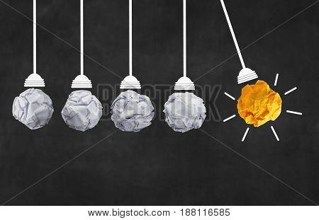 idea concept with paper light bulb blure blackboard background