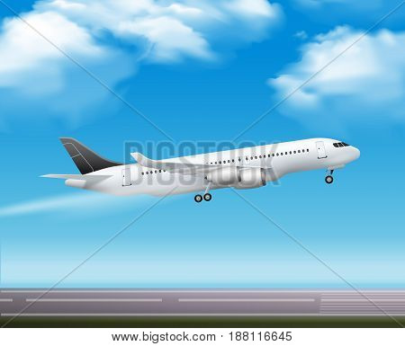 Large modern passenger airliner jet takeoff realistic air transportation services advertisement poster blue sky background vector illustration