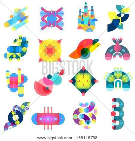 Color geometric shapes set of sixteen isolated memphis style colorful ornate images and abstract artwork elements vector illustration