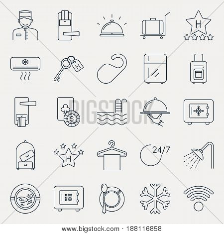 Collection of outline hotel icons. Vector illustration