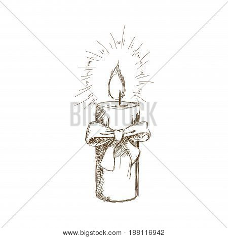 vintage christmas candle and holly decorations vector illustration