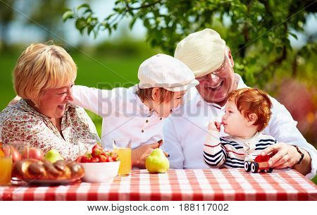 happy grandparents with grandchildren sitting at the desk in spring garden
