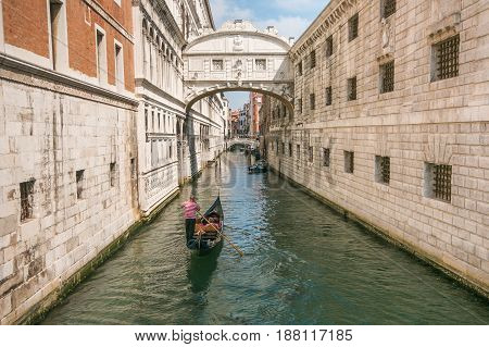 VENICE, ITALY - MAY 23, 2017: Amazing Venice: the famous bridge of sighs, Italy