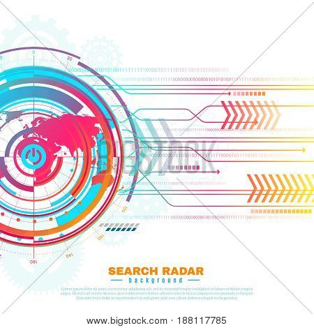 Colorful screen information of search radar with world map, grid, gears, arrows on white background vector illustration