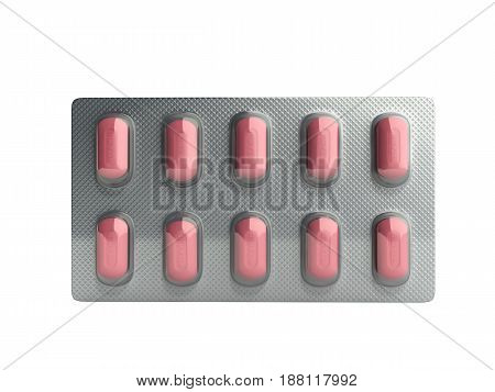 Pills Package Blister 3D Illustration No Shadow