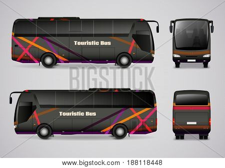 Set of frontal back right and left side images of touristic bus in realistic style vector illustration