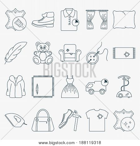 Collection of outline dry cleaning icons. Set of laundry icons