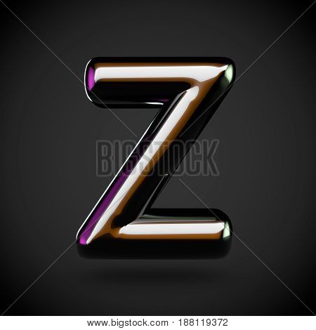 Glossy Black Letter Z Uppercase With Colored Reflections