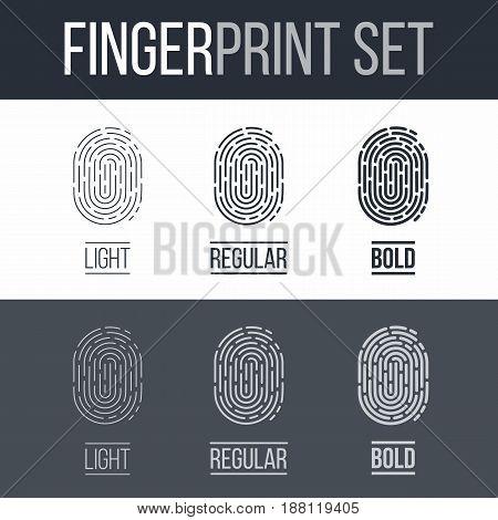 Set of Fingerprints for Identity Person on Dark and White