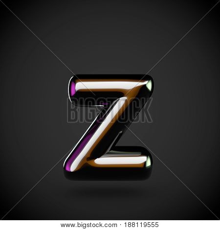 Glossy Black Letter Z Lowercase With Colored Reflections