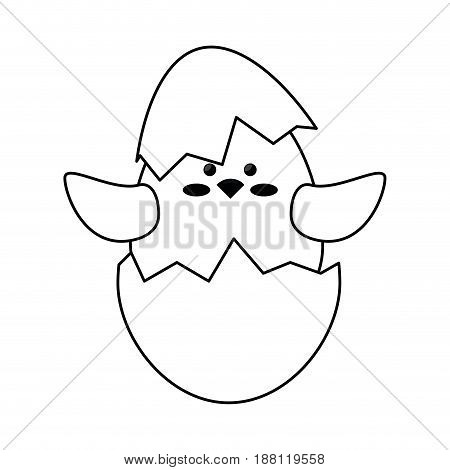 cute chicken in a eggshells icon over white background. vector illustration