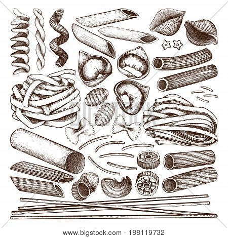 Vector collection of traditional Italian pasta. Hand drawn food sketch set. Vintage illustration for cafe or restaurant design.