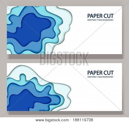 Abstract background with paper cut shapes. Vector volume design layout for business presentations, flyers, posters. Blue sea waves