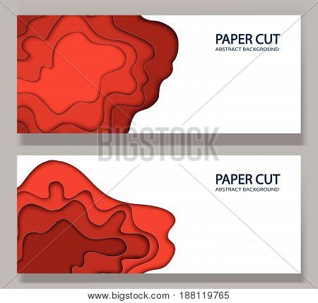 Abstract background with paper cut shapes. Vector volume design layout for business presentations, flyers, posters. Red waves