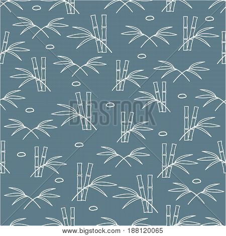Cute Seamless Pattern With Stones And Bamboo Leaves And Stems.