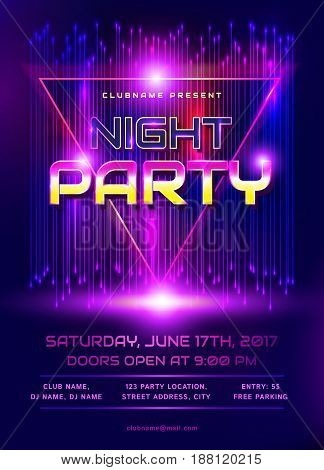 Colorful flyer for night party invitation. Template with abstract shiny background. Vector illustration.