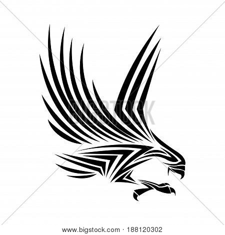 flying eagle, spread out its feather. black eagle on white background. vector illustration