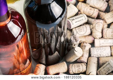 Moscow, Russia - September 03, 2014: Wine corks and bottles of wine famous wine producers Massandra, Chateau, Inkerman, etc