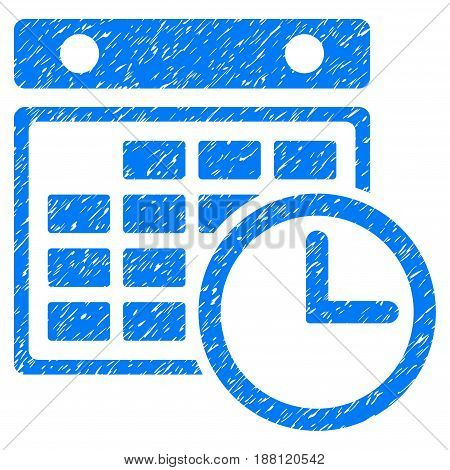 Grunge Timetable icon with grunge design and dirty texture. Unclean vector blue pictogram for rubber seal stamp imitations and watermarks. Draft sign symbol.