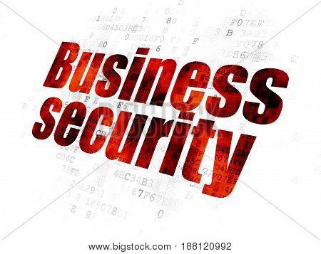Protection concept: Pixelated red text Business Security on Digital background