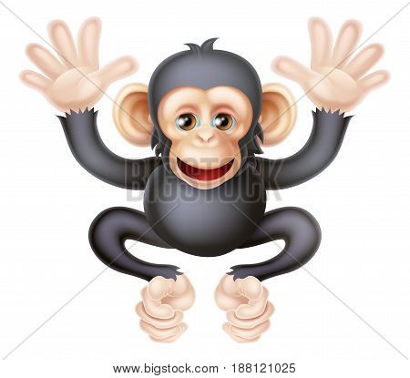 An illustration of a cute cartoon baby chimp, interestingly not a monkey but an ape