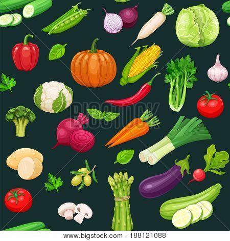 Vegetables seamless pattern black. Healthy food vector background.