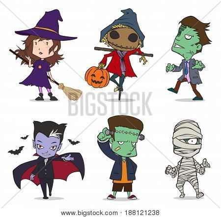 6 Halloween characters in EPS formats, the vector is 100% editable.