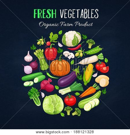 Poster round composition with colorful vegetables for farmers market menu design on black. Healthy food concept. Vector illustration.