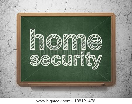 Safety concept: text Home Security on Green chalkboard on grunge wall background, 3D rendering