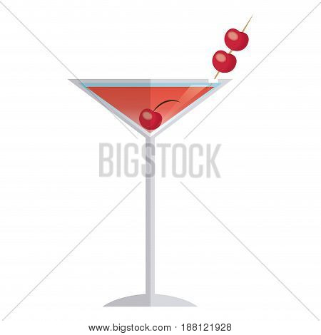 cocktail drink alcoholic fruit cherry image vector illustration