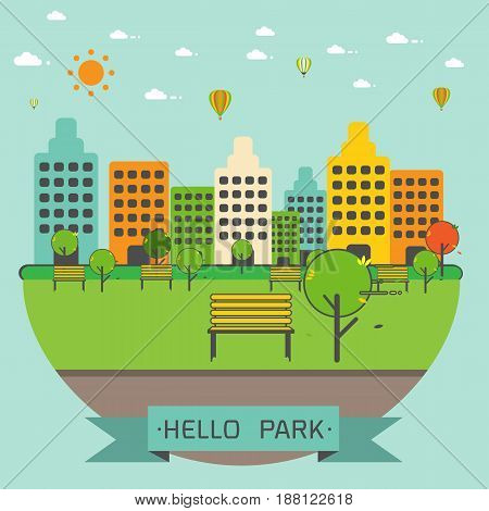 Public Park in The City in the flat modern linear styleVector illustration