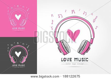 Modern linear thin flat design. The stylized image of Headphone with heart. music festival logo Template for covers logo posters invitations on white background Vector illustration