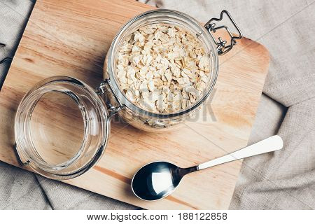 Transparent Glass Jar With Rolled Oats