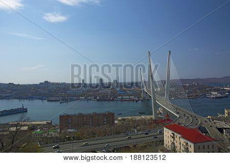 Marine City high bridge across the Bay, the sunny weather and beautiful Vladivostok