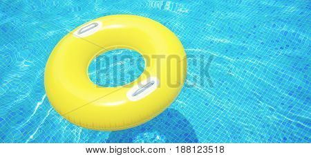 rubber ring floating in transparent blue tiled pool banner