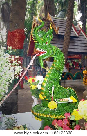 Head of serpent king or king of naga made from banana leaves at Kamchanod forest at