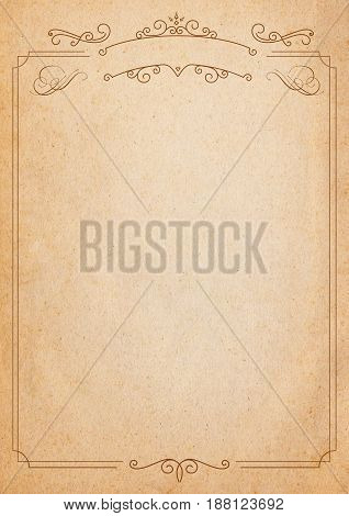 Brown And Beige Retro Style Paper Background With Border