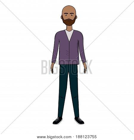 handsome man with beard and elegant wear, vector illustration