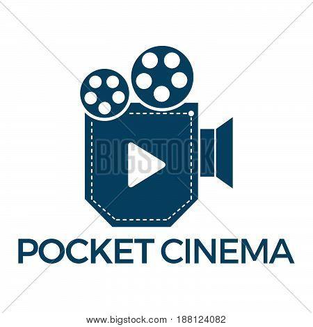 Pocket Cinema vector logo design. Music app logo.