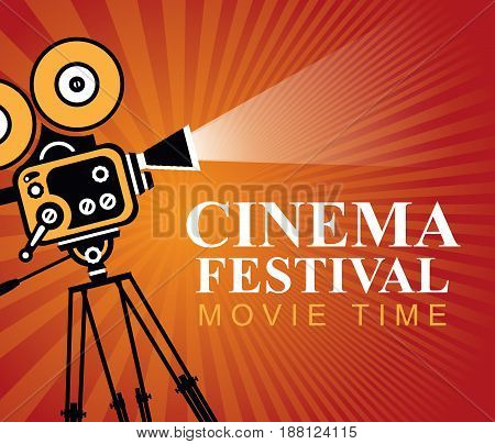 Vector cinema festival poster with old fashioned movie camera. Red movie background with words movie time. Can used for banner poster web page background