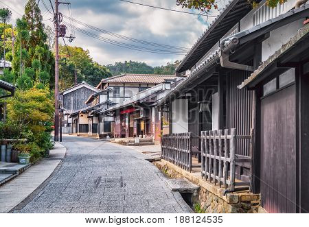 Traditional Small Japanese Street In Suburb Of Kyoto