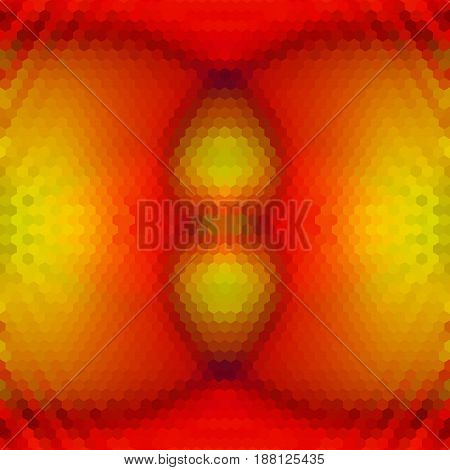 Abstract hexagonal glowing background with geometric shapes. Red, green, yellow and orange pattern of hexagons