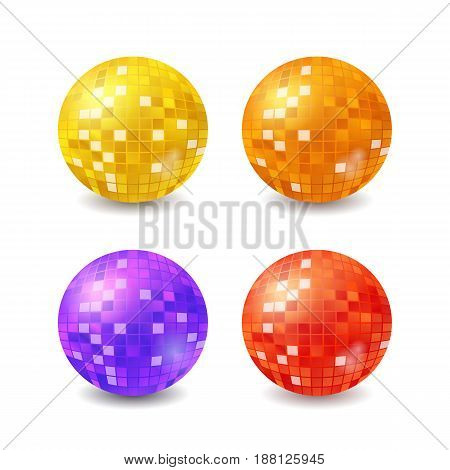 Set of vector disco balls, realistic vector mirrorballs isilated on white background