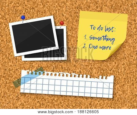 Cork board with blank torn paper piece, photos and to do list with curl corner. Realistic vector illustration