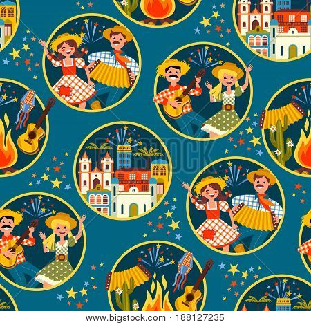 Latin American holiday, the June party of Brazil. Flat seamless pattern with symbolism of the holiday