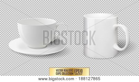 Vector realistic ceramic white cup and mug isolated on transparent background.