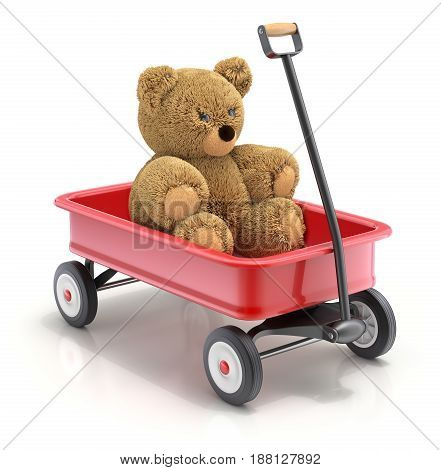 Teddy bear in the vintage child's toy mini wagon  - 3D illustration